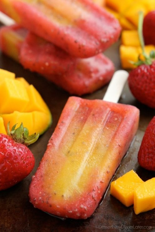 strawberry, mango and chia seed homemade popsicles