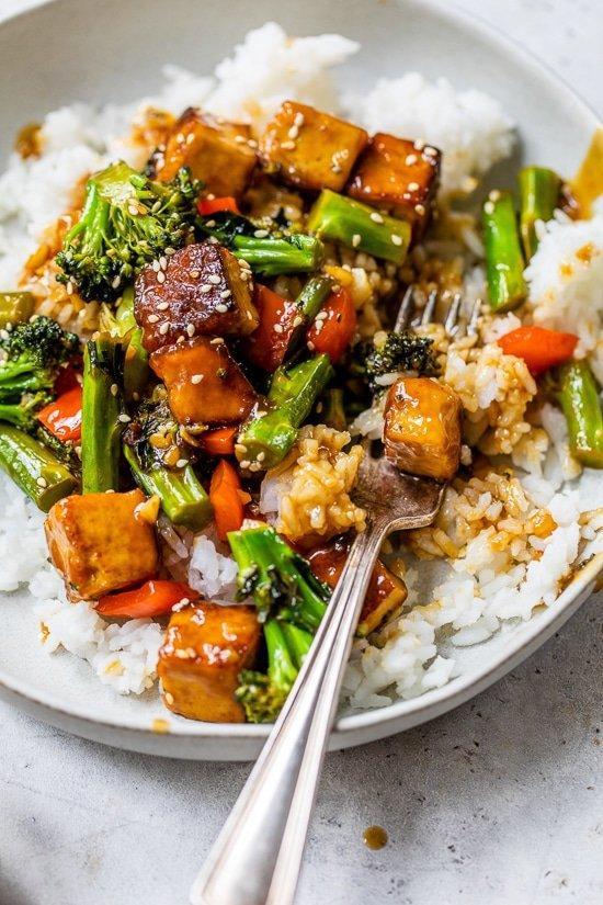 Tofu and Veggies over rice